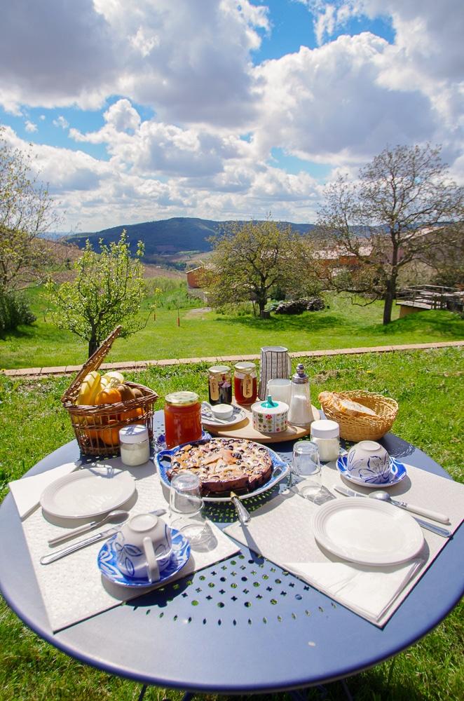 desayuno en el jardin - Le Raisin Bleu - casa rural de vacaciones en Beaujolais